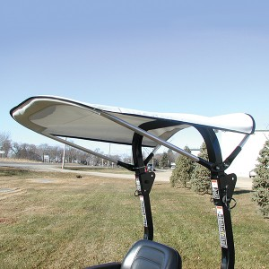 Gray Bimini Sunshade for Tractors and Mowers